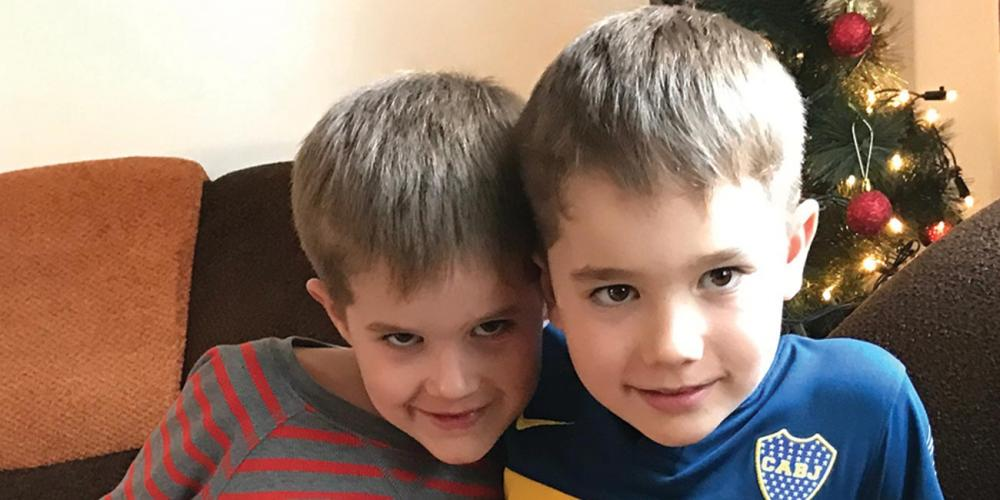Thomas Müller, 6, left, and his brother, Lukas, 7, right, are always looking for ways to raise money for the school in Kyrgyzstan. (Andrew McChesney / Adventist Mission)