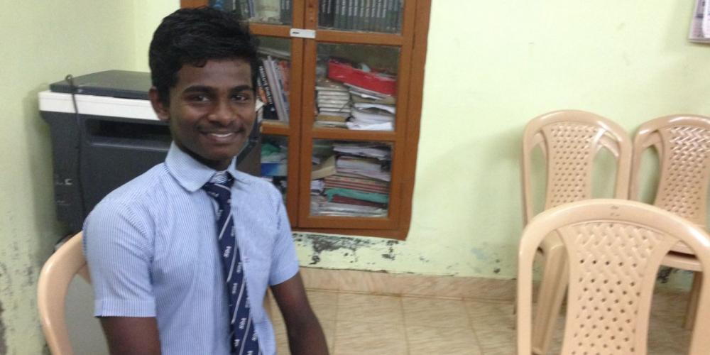 Ranjith Kumar, 17, says he owes his life to those who sponsored his Adventist education at James Memorial Higher Secondary School near Prakasapuram, India. (Andrew McChesney / Adventist Mission)