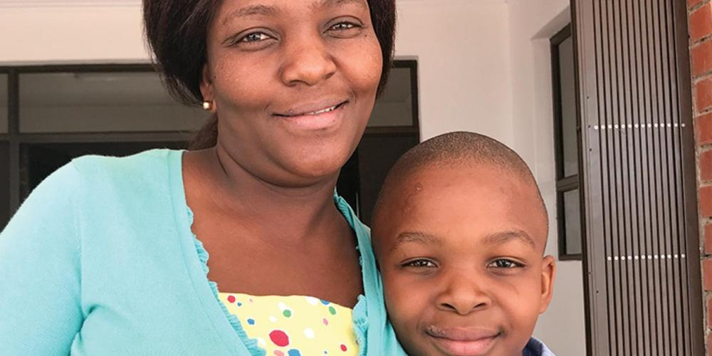 Lethabo Masienyne, 8, with his mother, Gomolemo Masienyne, 38
